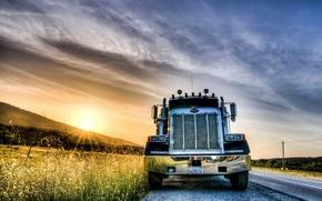 Картинка дорога, машина, пейзаж, закат, HDR