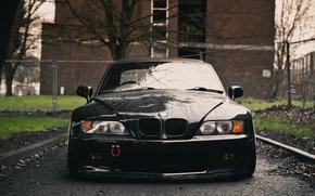 Картинка спереди, мокрый, BMW, передок, черный