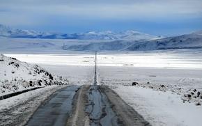 Картинка дорога, поле, снег, пейзаж
