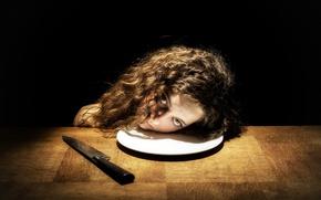 Обои голова, тарелка, нож