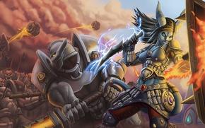 Картинка Human, orc, shaman, warcraft, draenei, битва, доспехи, воин, fan art