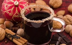 Картинка праздник, новый год, шоколад, кружка, сахар, напиток, декорации, орехи, корица, happy new year, christmas decoration, …