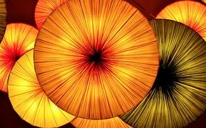 Картинка свет, огни, зонт, фонари, ткань