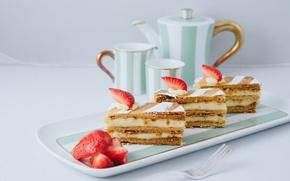 Обои ягоды, еда, клубника, чашки, торт, пирожное, cake, крем, десерт, food, сладкое, dessert, berries, strawberries, мильфей