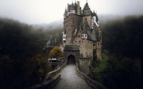 Картинка осень, туман, замок, Германия, Эльц