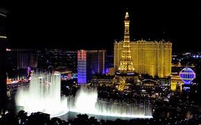 Картинка свет, ночь, озеро, Лас-Вегас, США, отель, казино, фонтан Белладжио, водное шоу, музыкальная хореография падающей воды, …