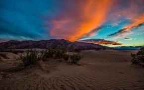 Картинка небо, облака, закат, горы, пустыня
