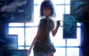 Картинка свет, окно, галстук, картины, кисть, Художница