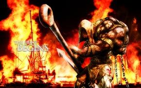 Картинка страх, пожар, пламя, кровь, урод, монстр, агрессия, Ustanak, супер-оружие, Resident Evil 2