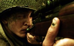Обои оружие, солдат, снайпер, винтовка, целится, спасти рядового райна