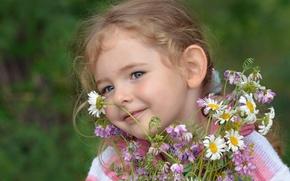 Картинка девочка, лето, настроение, цветы