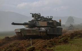 Картинка поле, танк, бронетехника, Abrams, Абрамс, M1A2