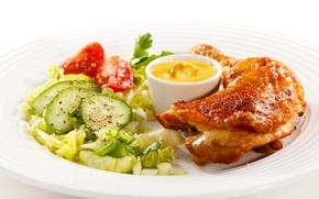 Обои еда, курица, тарелка, огурцы, салат, продукты, запеченная, мясные
