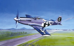 Картинка art, painting, aviation, P-51 MUSTANG