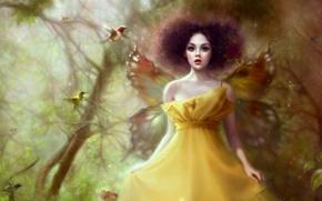 Картинка деревья, фея, птички, крылышки, art, Ruoxing Zhang, лесная нимфа, желтое платье