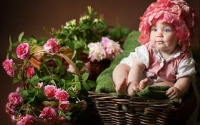 Картинка цветы, дети, розы, малыш, девочка, ребёнок, корзины, Анна Леванкова