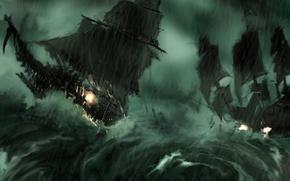 Картинка волны, шторм, ветер, корабли, пушки
