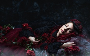 Обои Sleeping, Dark, Beauty