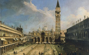 Обои Площадь Сан-Марко в Венеции, картина, городской пейзаж, Джованни Антонио Каналетто, кампанила