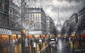 Картинка картина, улица, вечер, башня, Париж, небо, город