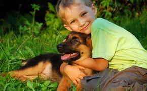 Обои друг, ребенок, собака, мальчик, щенок, друзья, обнимает