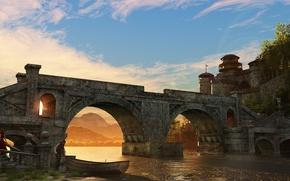 Картинка трава, деревья, мост, река, девушки, берег, башни, river, girls, bridge, clouds, облока, towers, return of …