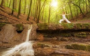 Картинка лес, девушка, солнце, деревья, природа, поза, гимнастика, водопад, утро, майка, шатенка, в белом, брюки