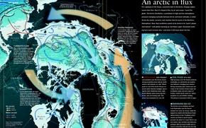 Обои канада, северный полюс, течения, ветры, снимок из космоса, гренландия, карта