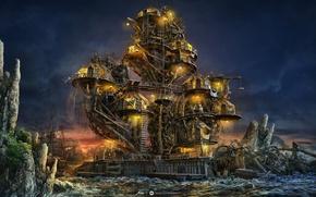 Картинка море, небо, огни, люди, дерево, скалы, берег, лодка, корабль, зарево, мостик
