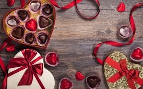 Картинка романтика, шоколад, конфеты, лента, сердечки, love, rose, heart, romantic, Valentine's Day