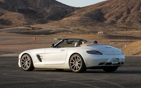 Картинка авто, белый, Roadster, Mercedes-Benz, мерс, AMG, SLS, мерседес-бенц