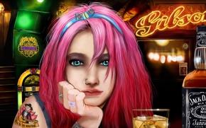 Картинка лед, девушка, стакан, кольца, бар, пирсинг, арт, алкоголь, татуировка, розовые волосы, Jack Daniels, Джек Дэниэлс