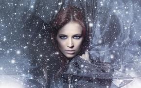 Картинка взгляд, девушка, лицо, волосы, ткань, голубые глаза