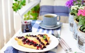 Картинка чай, завтрак, смородина, варенье, блинчики