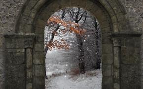 Картинка зима, снег, природа, стена, арка, wall, Nature, winter, snow