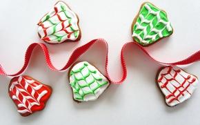 Картинка еда, Новый Год, печенье, Рождество, лента, Christmas, food, выпечка, праздники, New Year, cookies, ribbon, Holidays, ...