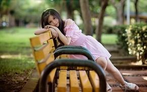 Обои девушка, парк, скамья