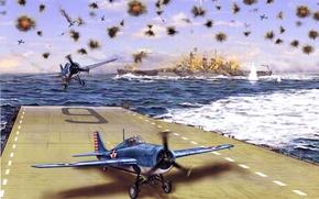Картинка огонь, рисунок, арт, взлёт, выстрелы, готовность, WW2, Гуадалканал, палубные истребители, шапки разрывов, линкор «Северная Каролина», …