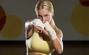 Обои blonde, boxing, workout, punch, training
