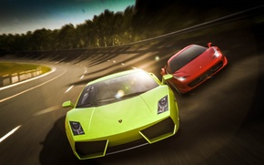 Картинка Lamborghini, Ferrari, Red, Gallardo, Cars, 458, Green, Speed, Italia