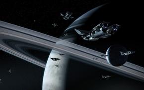 Картинка кольца, спутники, газовый гигант, spaceships, Stiv Burg