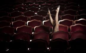 Обои зал, ряды, кресло, спинки, стулья