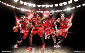 "Картинка баскетбол, team, NBA, Houston Rockets, Jeremy Lin, James ""Beard"" Harden, Chandler Parsons, Dwight ""Superman"" Howard"