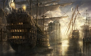 Обои море, корабли, замок