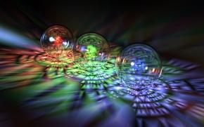 Обои стекло, шары, спектр