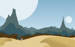 Картинка горы, пустыня, планеты, робот, star wars, r2d2