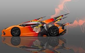 Картинка Авто, Lamborghini, Машина, Оранжевая, Стиль, Обои, Orange, Аниме, Оранжевые, Car, Арт, Наруто, Naruto, Art, Anime, ...