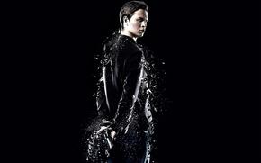 Картинка The Divergent Series, Divergent 2, Insurgent, movie, Caleb, black, weapon, gun, actor, Ansel Elgort, film, ...