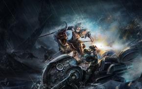 Картинка оружие, арт, парни, дождь, битва, рог, ночь, зверь, ARGO, ящер, скалы, эльф, транспорт