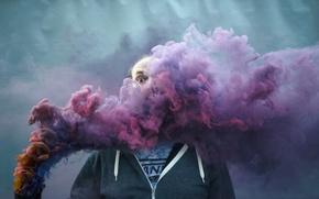 Картинка фон, дым, человек
